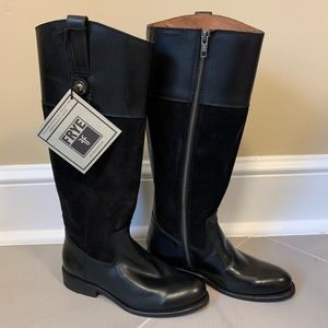 FRYE Melissa Button Black Riding Boots